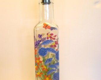Hand Painted Wild Flowers Pour Oil Vinegar Soap Bottle Purple Pink  Blue Red Yellow Blue Green with Butterflies