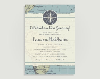 Travel Bridal Shower Invitation - Map - Personalized Printable File or Print Package Available - New Journey #00013PF-PIA7