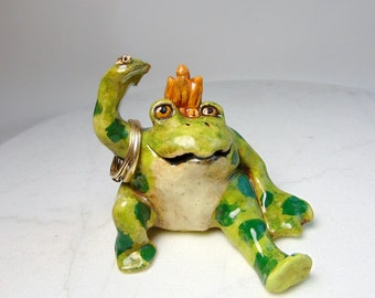 Frog Ring Holder - Frog Prince Sculpture - Pottery Animal - Ceramic Figurine - Animal Sculpture