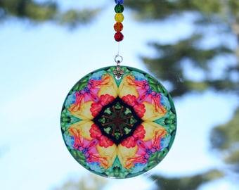 Mandala Suncatcher Rainbow Rose Chakra Boho Chic New Age Sacred Geometry Hippie Kaleidoscope Meditation Zen Unique Gift For Her Ornate Opus