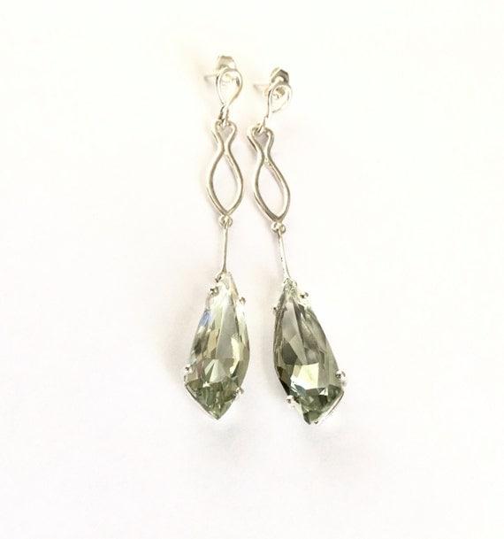 Green Quartz Statement Earrings Sterling Silver