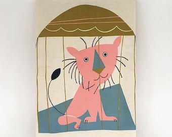 FABRIC ART Lion Wall Hanging Fabric Art 1950s KIDS Room decor
