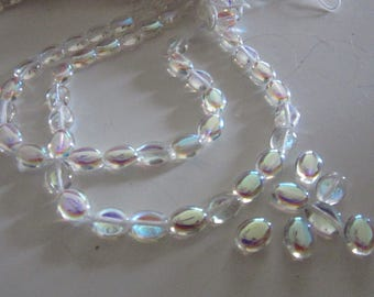 Crystal AB Glass Oval Beads, 8 x 6mm, (25)