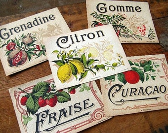 Vintage French Liqueur Labels - 5 - lemon strawberry pomegranates fruit liqueur labels Collage Work Upcycle Photography Prop Paper Ephemera