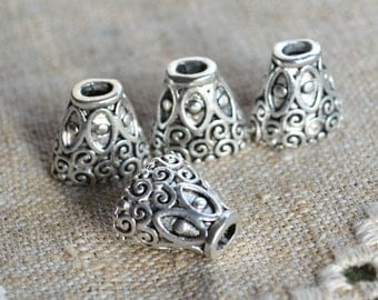 6 Cones 16x15x11mm Antiqued Silver-Plated Pewter For Multiple Strands Caps