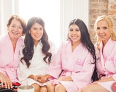 Ladies Personalized Bath Robe Waffle Weave Bathrobe Monogrammed Spa Robe Front embroidery is included Custom Made