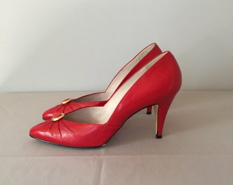 lipstick red stilettos | leather button high heels | 8