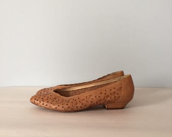 chestnut woven leather pumps | braided cut out leather flats | 8.5