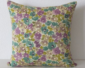 Purple and Teal Wildflowers Pillow Cover