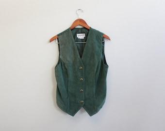 Vintage 90s Green Leather  Vest by Bagatelle