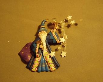Vintage 1993 Merlin Wizard Pin Brooch Composite Material  9162