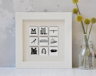 Unusual Newcastle Art - Newcastle print - Newcastle wall art - Newcastle kitchen art - Gift for Geordie - Gift for Newcastle couple