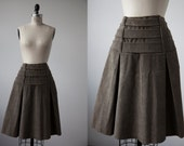Vintage 90s Olive Corduroy Skirt with Multiple Belts Straps Pleated Knee Length Green Brown Grunge M