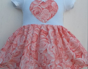SALE - Size 0-3 Months Roses Roses Roses Short Sleeve Onesie Dress  READY to SHIP