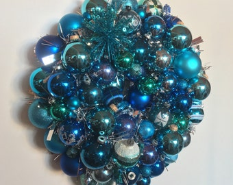 Blue Christmas Handmade Vintage Ornament Ball Christmas Wreath Free shipping in Continental U.S.