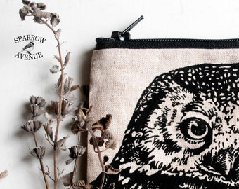 Owl Coin Purse, Travelers Pouch, Change  Purse, Small Zipper Pouch