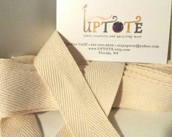 1 inch natural cotton heavy  weight twill tape 20 yd. piece