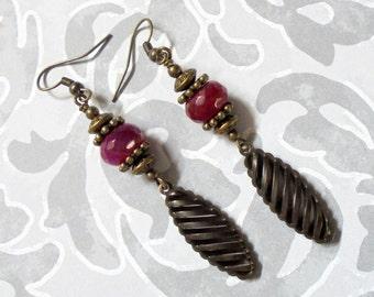 Dark Fuschia and Brass Boho Earrings (3127)