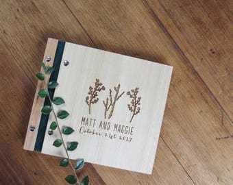 Wedding Guest Book. Wood Guest Book. Engagement Gift. Bridal Shower. cacti. succulents