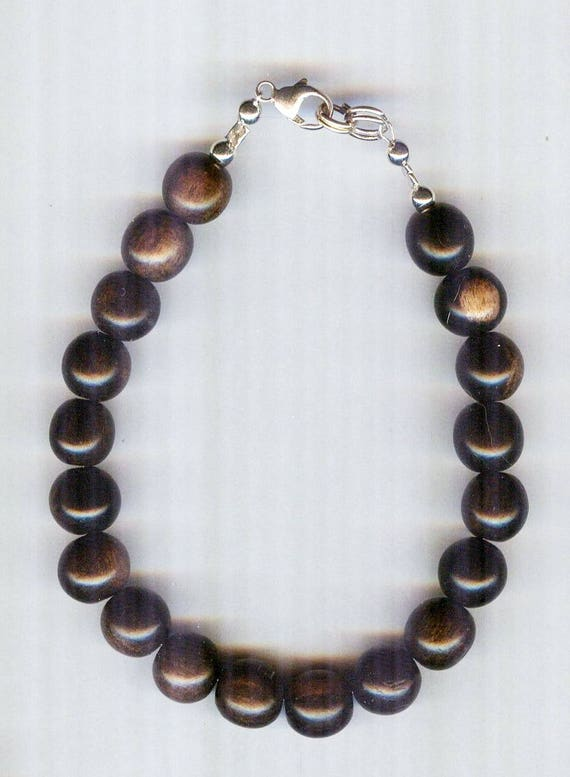 Stunning High Quality MATTE Tiger Ebony Wood Beaded Bracelet or Necklace