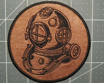 "Deep Sea Helmet Iron on Patch on Cowhide Leather 4"""