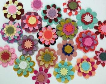 Wool Felt Mix & Match Flowers 80 total - Random Colored *Stock image 4015 - Kids Crafts - Headband - DIY - Daisy - Blossom - Crafting