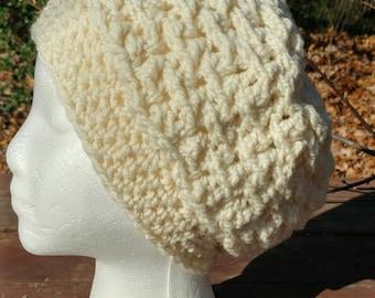 Hand Spun Crocheted Hat off white
