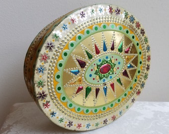 Vintage Tin by Baret Ware England, Embossed Jewel Tones Starburst Flowers, Large Oval Decorative Metal Storage Box