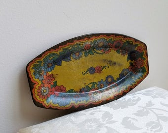 Vintage Metal Tray Floral Flowers Oblong With Aged Patina, Art Deco Bohemian Decor