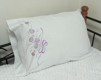 Vintage Pepperell Hand Embroidered Lavender Floral Single Pillow Case Bedding