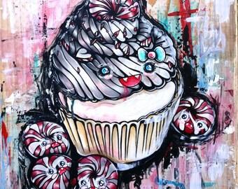 Peppermint Baddie - Cute Lowbrow Pop Art Cupcake - Illustration Art Original Painting in Acrylic Creepy Cute