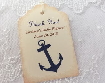 Nautical Anchor Tags Baby Shower Thank You Favor Tags Ahoy! It's a Boy! Set of 10
