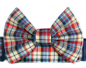 Extra Wide Plaid Bow Tie Dog Collar, 1.5 Wide Dog Collar, Preppy Bow Tie Dog Collar, Summer Bow Tie Dog Collar