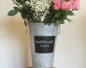 French Floral Bucket Chalkboard Insert Tall Flower Garden Pail Galvanized with Vintage  Look Organic Finish