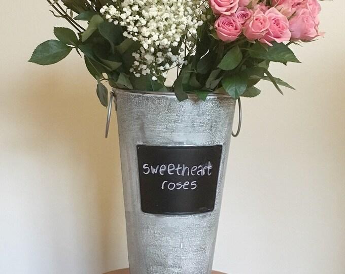 French Floral  Galvanized Bucket Chalkboard Insert