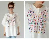 VTG Oaxacan Embroidered Top- Oversized Tee, Blouse, Mexican Multicolored Top XL