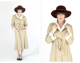 60s Taupe & White Trench Coat- S/M, Minimalist Vintage, Chic Raincoat, White Trim
