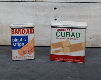 Vintage Band-Aid Tins, Johnson and Johnson Band-Aid Brand, Ouchless Curad by Kendall