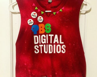 PBS, crop top, upcycled, colored with markers, studded, bleached, pins, wearable art