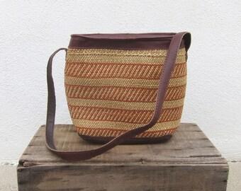 80s Vintage Woven Raffia Ethnic Sisal Shoulder Bag Bohemian Boho Hippy Summer
