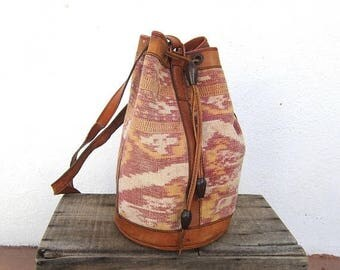 15% Off Out of Town Sale 80s Ikat Knapsack Ethnic Tan Leather Lightweight Leather Backpack Purse Bohemian Hippie Boho