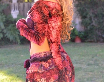 Burgundy Wine Tie Dye Stretch Crinkle Velvet Log Sleeve Shrug Top with Tails,Festival Top,Faery,Pixie ,Burning Man Woman,Boho,Hippie