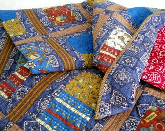 Cowboy Quilt Western Quilt Rodeo Quilt Red Bandana Blue Bandana Couch Quilt Nap Quilt Red Blue White Full Size Horses Cowboy Hats Cowgirl