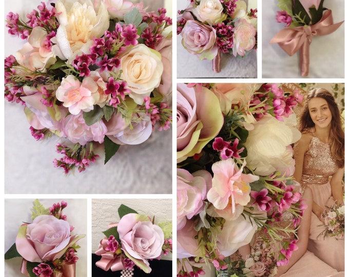 New Silk Mauve Bridal Bouquet, Mauve Wedding Bouquet, Mauve Wedding Flowers.