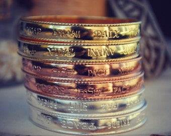WORLD PEACE BANGLE /// Gold, Silver or Rose Gold