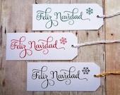 Feliz Navidad Christmas Tags Set of 10 Mexican Spanish Holiday Tag