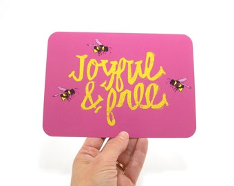 Office Cubicle Art JOYFUL and Free Bees Illustration WANDERLUST Card Cute Hand Lettered 5x7 flat card FRIEND Card for her