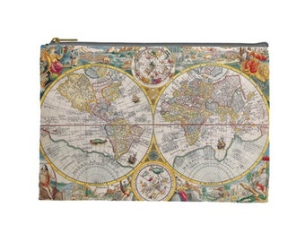 Old World Map Travel Document Bag, Visa and Passport zippered pouch, Travel Accessory pouch, World Map Zippered pouch, Visa pouch