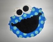 Iron On COOKIE MONSTER Applique...New...Blue Polka Dots...Cute