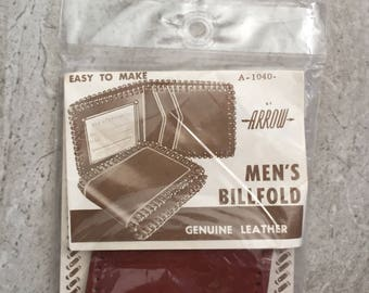 DIY Vintage Arrow Men's Billfold Kit, Easy to make, Genuine Leather